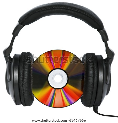 Hi-Fi headphones and colorful disc - music concept -