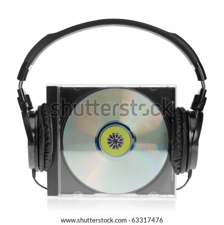 HI-Fi headphones with audio CD on white background