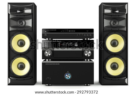 Hi-Fi stereo system musical player, power receiver, yellow speakers, multimedia center