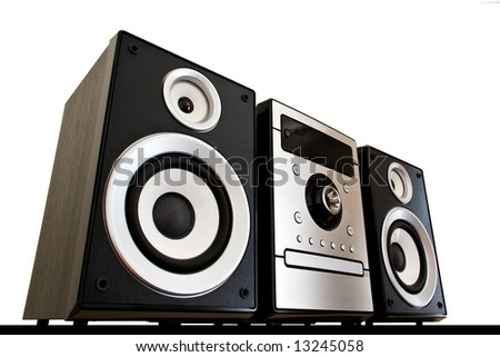 Hi Fi system isolated on white background