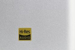 Hi-Res audio sign on Bright Sand blasting aluminum texture, On body of Hi-Res music equipment.