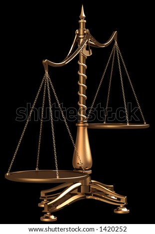 Hi-res 3D rendering of disbalanced brass scales isolated on black background