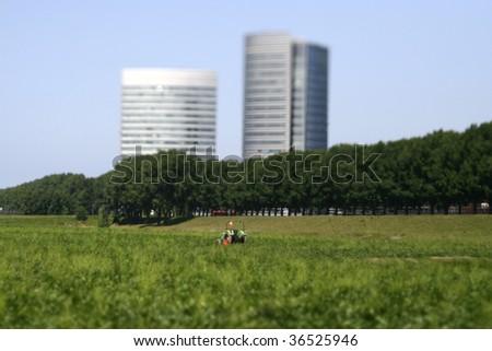 Hi-rise building at field