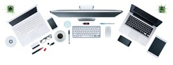 Hi-tech business desktop with computers set, digital tablet and smartphone, information technology and multiplatform concept, top view, white background
