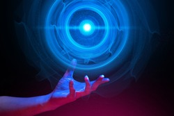 hi-tech circle laser eye digital data ai global network technology hologram with particle light and hand of human with blue and red color glow in sci-fi futuristic concept, touch new science research