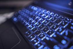 Hi tech computer keyboard backlit