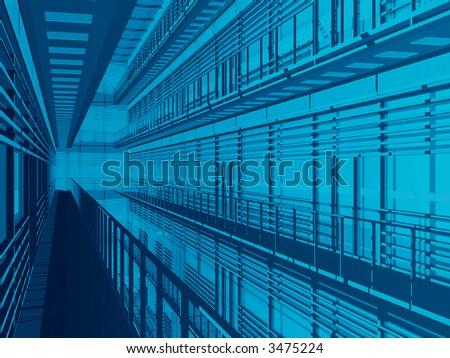 Hi tech 3d architectural background #3475224