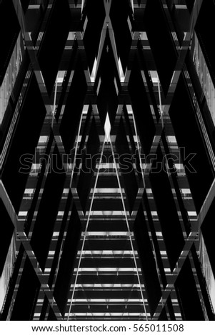 Hi-tech office buildings in darkness. Grunge reworked photo of glass walls / glazed aluminum structures. Abstract black and white image on the subject of modern architecture.
