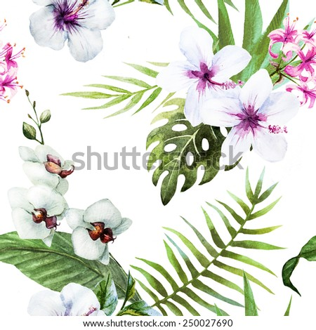 hibiscus, flowers, tropical, watercolor, pattern, background, exotic,orchid
