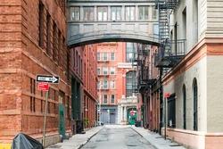 Hidden alley scene on Staple Street in the historic Tribeca area of Manhattan, New York City NYC