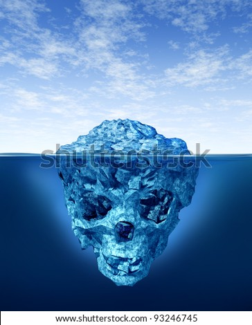 Hidden dangers with a deceptive hazardous iceberg in cold arctic water with a small part of the frozen ice mountain above the sea and the hidden bottom in the shape of a death human skull skeleton. - stock photo