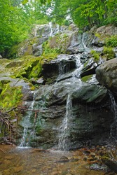 Hidden Dark Hollow Falls in the Forest Shenandoah National Park in Virginia