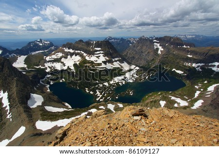 Hidden Lake of Glacier National Park seen from the summit of Mount Reynolds