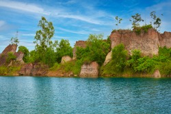Hidden view of blue pond in kamphaeng phet for travel in thailand