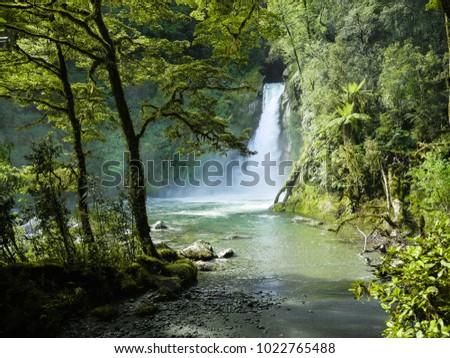 Hidden waterfall - Milford Track, Fiordland Nationalpark New Zealand
