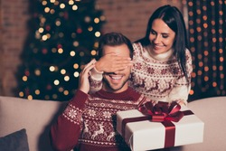 Hide and seek concept. Good-looking, attractive brunette lady in ornament sweater hold big package with bow, close eyes her man, who sit in cozy living room couch with lights garland decorations