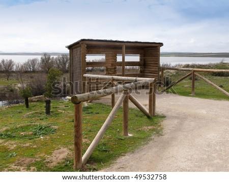 Hide in Fuente Piedra lagoon Foto stock ©