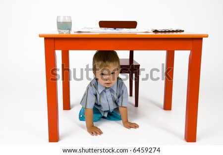 Hiding places under the table.