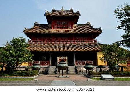 Hien Lam Pavilion - Imperial City of Hue, Vietnam - stock photo