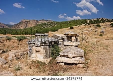 Hierapolis necropolises broken tombs