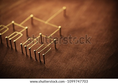 Hierarchy, command chain, company / organization structure or layer and grouping concept image. Top down structure made from gold wires and nails on rustic wooden surface. Shallow depth of field. #1099747703