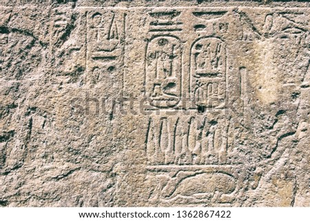 Hieroglyphics on rock surface during Rameses dynasty. #1362867422