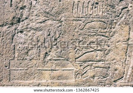Hieroglyphics on rock surface during Rameses dynasty. #1362867425