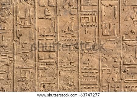 Hieroglyphs in Karnak temple, Luxor, Egypt