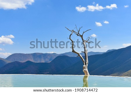 Hierve el Agua ('the water boils')) is a set of natural rock formations in the Mexican state of Oaxaca that resemble cascades of water in Oaxaca de Juárez, Oaxaca, Mexico. Foto stock ©