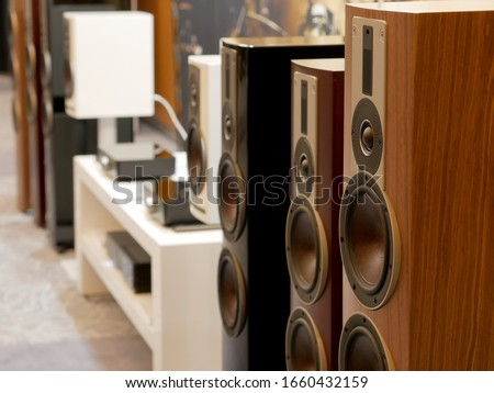 HiFi Stereo stylish speakers. Detail view of Stereo speakers.
