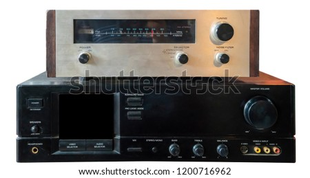 Hifi system amplifier. Home musical equipment closeup. Vintage stereo receiver #1200716962