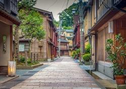 Higashiyama geisha teahouse district of Kanazawa, Ishikawa Prefecture, Japan.