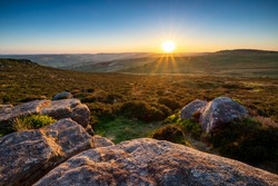 Higger Tor, in the dramtic Peak Distric, fantastic adventure travel destination or holiday vacation to view picturesque scenery at sunrise or sunset