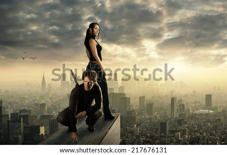 High above a big city #217676131