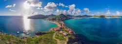 High Aerial view of the Caribbean island of French and Dutch St.Maarten and St martin.