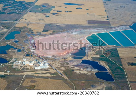 High altitude image of a potash mine in Southern Saskatchewan.