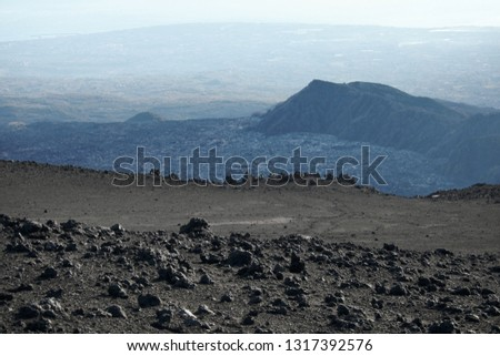 high altitude landscape Bove Valley and Schiena Dell'Asino Ridge in Etna Park, Sicily