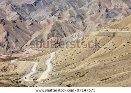 High-altitude road in the Himalayas - serpentine road