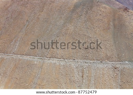 High-altitude road in the Himalayas - serpentine road - stock photo