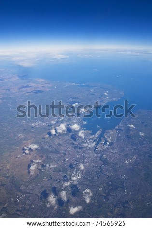 High altitude view of coastline. Belfast, in Northern Ireland is at the river mouth.