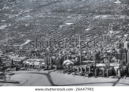 High altitude view of downtown Toronto. Pseudo-HDR image desaturated into black and white.