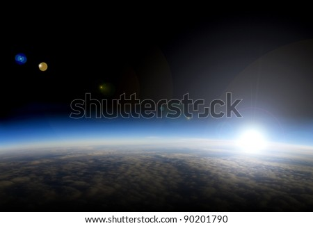 High altitude view of sunrise over Earth. This is is a composite image. - stock photo