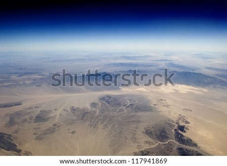 High altitude view of the Earth in space. The desert in the western United States.