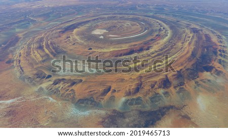 High altitude view of the Richat Structure is a prominent circular feature in the Sahara's Adrar Plateau near Ouadane west central Mauritania in Northwest Africa 4k screenshot of animation Stock fotó ©