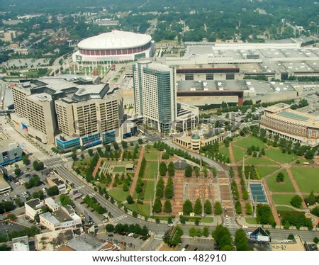 High altitute view of the Atlanta downtown core around the Georgia World Congress Center.