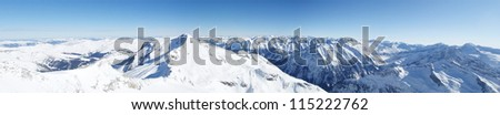 High angel panoramic view of the winter Alps in Austria