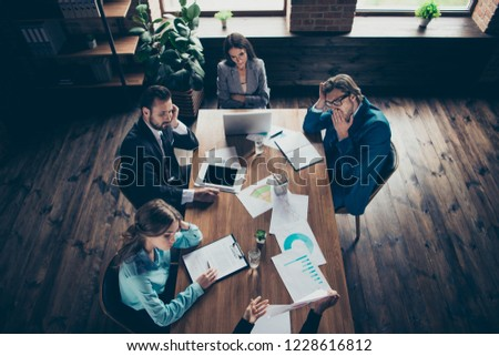 High angle above top view very long meeting with concentrated focused elegant trendy stylish person look at manager sit on chair wait end of work day indoor loft interior #1228616812