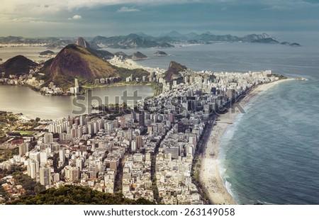 High angle aerial view of big city of Rio de Janeiro, Brazil