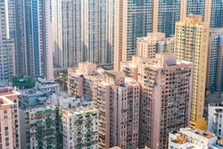 High angle drone Scenery view of the dirty downtown slum village in Macau, China.
