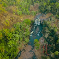 High angle drone shot of Bousra Waterfall scenery which is located in Cambodia.